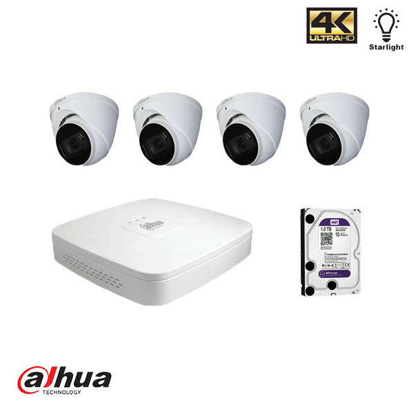 Dahua HDCVI kit 4 kanalen DVR incl 1 TB HDD en 4 pignose camera's 2MP